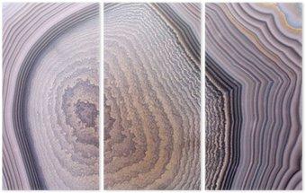 Triptych Šedý achát struktura tmavé pozadí