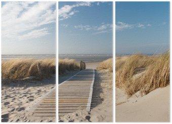 Triptych Severní moře pláž v Langeoog