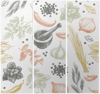 Triptych Vektorové bezešvé vzor s bylinkami a kořením.