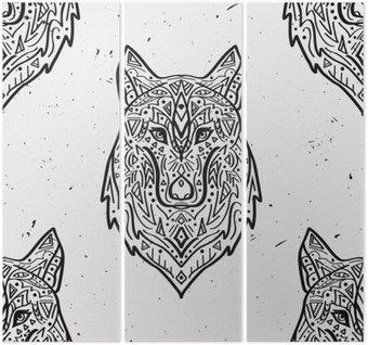 Triptych Vektorové grunge monochromatický bezešvé vzor s kmenovým styl vlka s etnickými ornamenty. Indiána motivy. Design Boho.