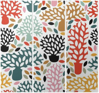 Triptych Vektorové vícebarevný vzor bezešvé s rukou vypracován doodle stromů. Abstraktní podzimní pozadí přírody. Design pro tkaniny, textilní pádě tisky, balicí papír.