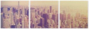Triptych Vintage tónovaný Manhattan panorama při západu slunce, NYC, USA.