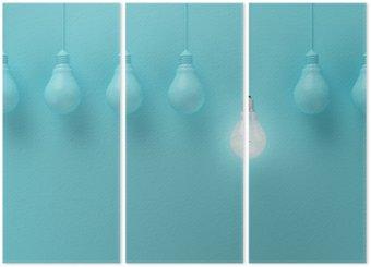 Triptych Visí žárovky s zářící jednu jinou představu o světle modrém pozadí, minimální koncept nápad, ploché laické uživatele, nahoře