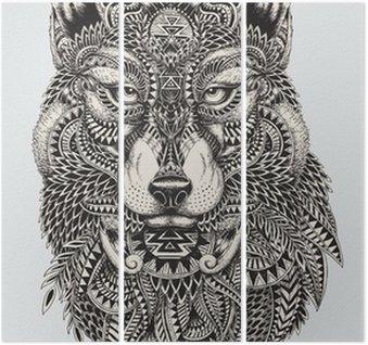 Triptych Vysoce detailní abstraktní vlk ilustrace
