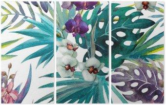 Triptych Vzor Orchid Hibiscus listy akvarel tropy