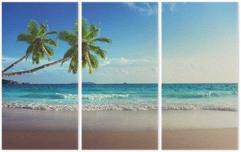 Triptych Západ slunce na pláži Seychely