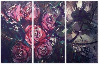 Triptyk Akvarell målning stil rosor Abstrakt konst.