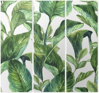 Triptyk Akvarell Seamless Tropiska