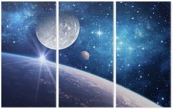 Triptyk Bakgrund med en planet, måne och stjärna