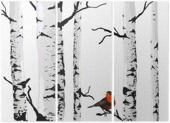 Triptyk Fågel av björkar, vektor ritning med redigerbara element.