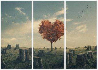 Triptyk Hjärtformad träd i rensas skog