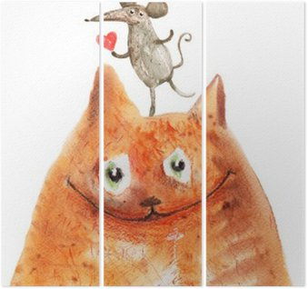 Triptyk Katt med mause
