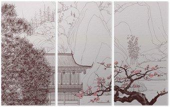 Triptyk Kinesiska landskapet