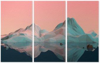Triptyk Låg Poly 3D fjällmiljö med vatten och reflektion