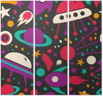 Triptyk Seamless kontrast kosmisk mönster