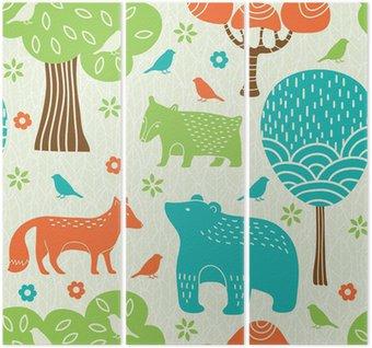 Triptyk Skogens djur sömlösa mönster