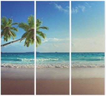 Triptyk Solnedgång på Seychellerna strand