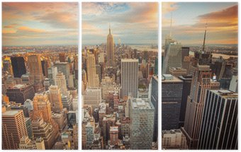Triptyk Solnedgång utsikt över New York City tittar över centrala Manhattan