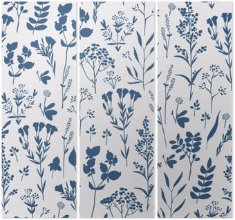 Triptyk Sömlös handritade blommönster med örter