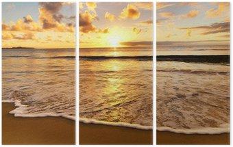 Triptyk Vacker solnedgång på stranden