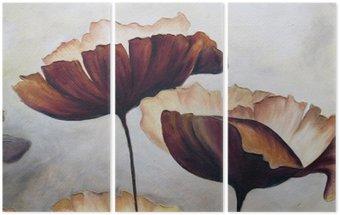 Triptyk Vallmo abstrakt målning