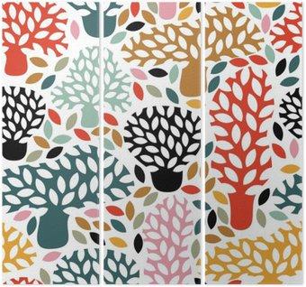 Triptyk Vector multi seamless handritad klotter träd. Abstrakt hösten natur bakgrund. Design för tyg, textil höst tryck, omslagspapper.