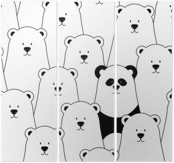 Triptyk Vector seamless med vita isbjörnar och panda