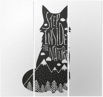 Triptyk Vektor handritad bokstäver illustration. Stig in naturen. Typografi affisch med räv, berg, tallskog och moln.