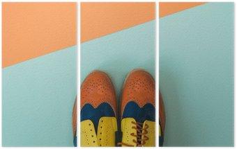 Triptyque À plat ensemble de la mode: coloré chaussures vintage sur fond de couleur. Vue de dessus.