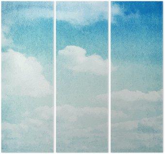 Triptyque Aquarelle nuages et le ciel fond