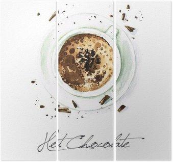 Triptyque Aquarelle Peinture alimentaire - Chocolat chaud