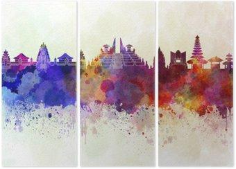 Triptyque Bali skyline en fond d'aquarelle