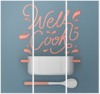 Triptyque Bien cuisiner citation avec pot 3D moderne rendu 3D illustration