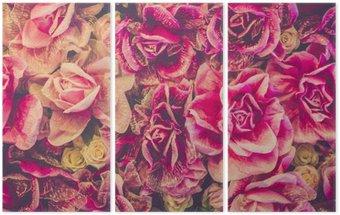 Triptyque Bouquet de roses fond. filtre Retro