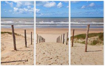 Triptyque Chemin de la plage de sable par la mer du Nord