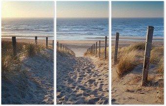 Triptyque Chemin de plage de la mer du Nord dans le soleil d'or