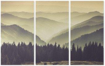 Triptyque Collines de montagne brumeuses
