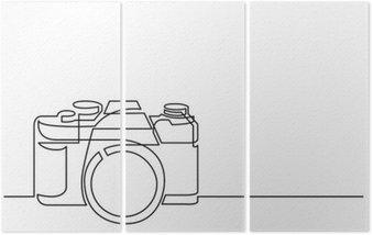 Triptyque Dessin au trait continu de caméra photo rétro