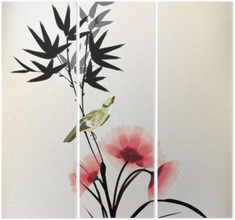 Triptyque Encre style chinois dessin fleur oiseau