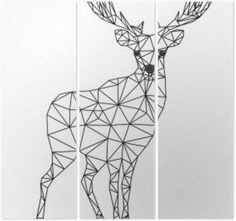 Triptyque Faible caractère poly de cerfs. Designs pour noël. illustration de Noël dans le style d'art en ligne. Isolé sur fond blanc.