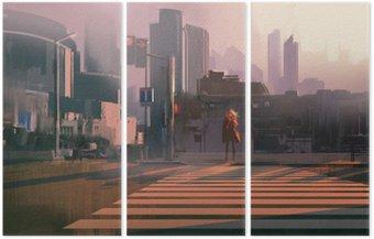 Triptyque Femme solitaire debout sur passage piéton urbain, illustration peinture