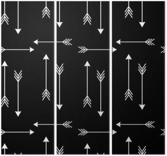 Triptyque Flèches blanches sur fond noir vecteur seamless illustration__