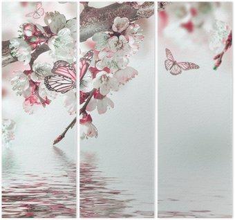 Triptyque Fleurs d'abricots au printemps, fond floral
