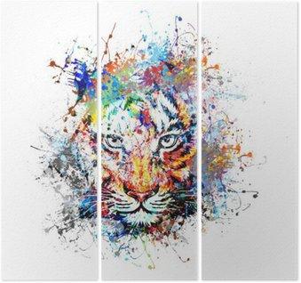 Triptyque Fond clair avec le tigre