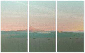 Triptyque Géométrique Paysage de montagne avec Gradient Sky