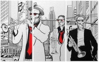 Triptyque Groupe de jazz dans une rue de New-York