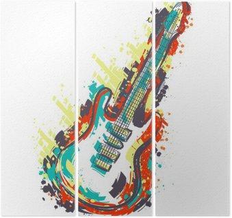 Triptyque Guitare électrique. Hand drawn art de style grunge. banner Retro, carte, t-shirt, sac, impression, poster.Vintage main colorée dessinée illustration vectorielle