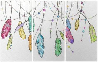 Triptyque Hand drawn plumes esquisse de capteur de rêves.
