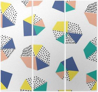 Triptyque Hand drawn seamless coups de pinceau et figure géométrique.