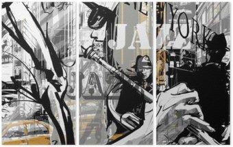 Triptyque Jazz joueur de trompette dans une rue de New york